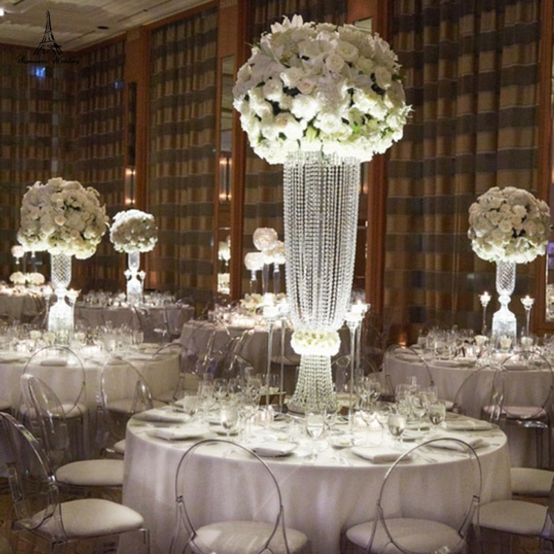 2pcs/lot Romantic luxury Wedding Crystal Flower Stand Centrepiece with for Wedding Party Event Home decor