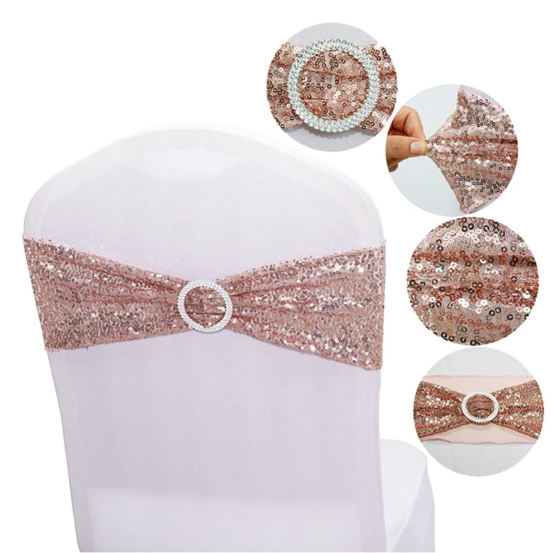 quality Shiny Sequin Rose Gold stretch Chair Bands with round buckle For Wedding Events party Decoration spandex chair sashes