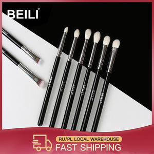 BEILI 8pcs Classic Black Pro makeup brushes Goat synthetic Hair Eye shadow Brow Blending smoky Makeup Brush Set