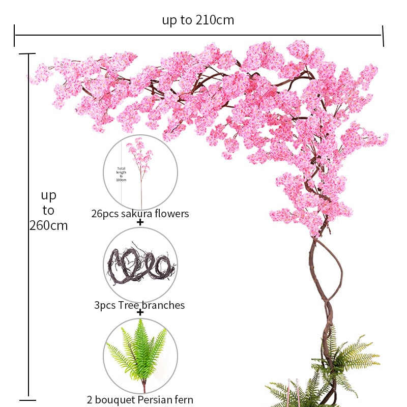Cherry Blossom Tree Set Artificial Flowers Suit Silk Sakura Branch For Outdoor Home Wedding Backdrop Party Office Decoration