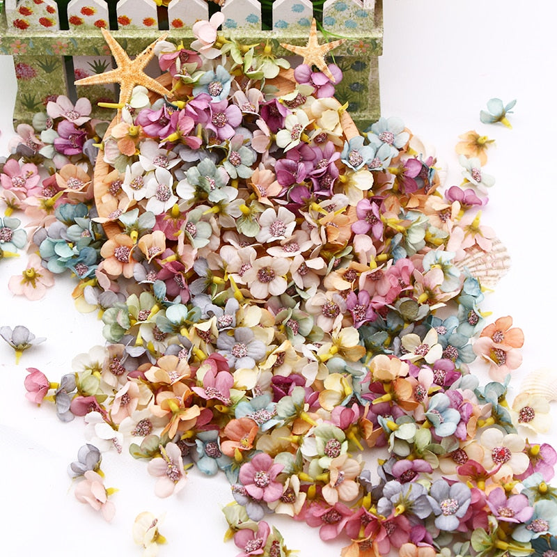 50/100pcs Multicolor Daisy Flower Head Mini Silk Artificial Flower For Wedding Engagement Party Home Decor DIY Garland Headdress