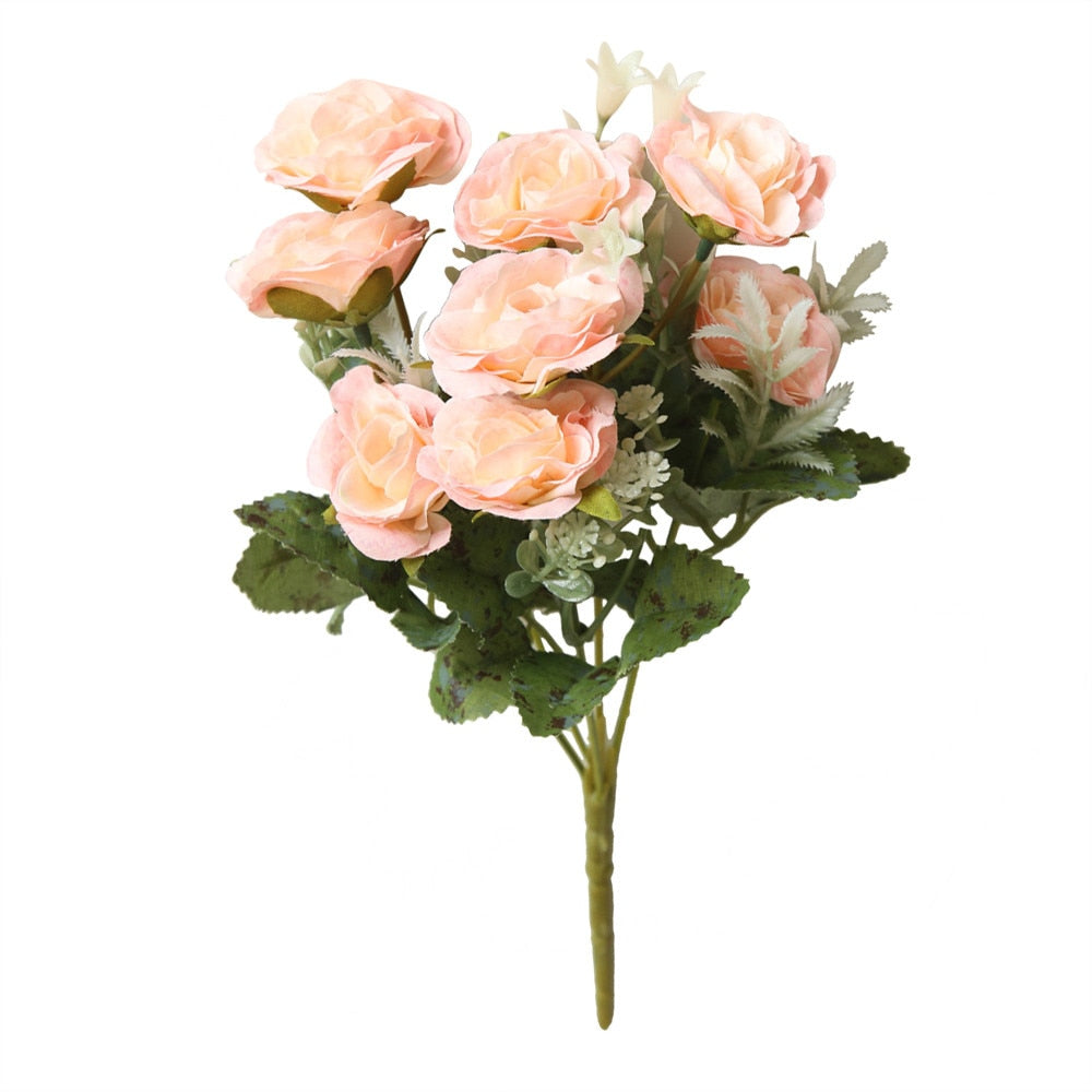 Wild rose bouquet Artificial Silk Flowers Small bouquet flores Home Party Spring Wedding Decoration Fake Flower dropshipping313W