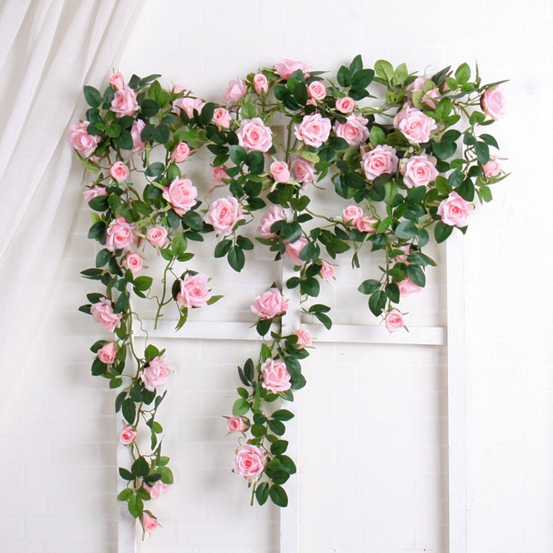 Artificial Rose Flowers Rattan String Vine Fake Plants Green Leaves Hanging Flower Garland Romantic Wedding Party Home Decor