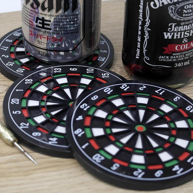 4pcs/set Bottle Cup Mini Table Mat Creative Kitchen Bar Utensils Dart Board Style Coaster Mini Dart Drink Beer Beverage Placemat