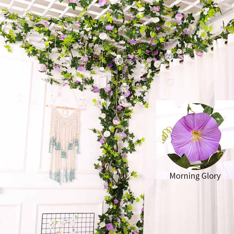 138cm Silk Flowers Plants Artificial Morning Glory Flower Rattan String Vine With Green Leaves For Wedding Party Home Decor