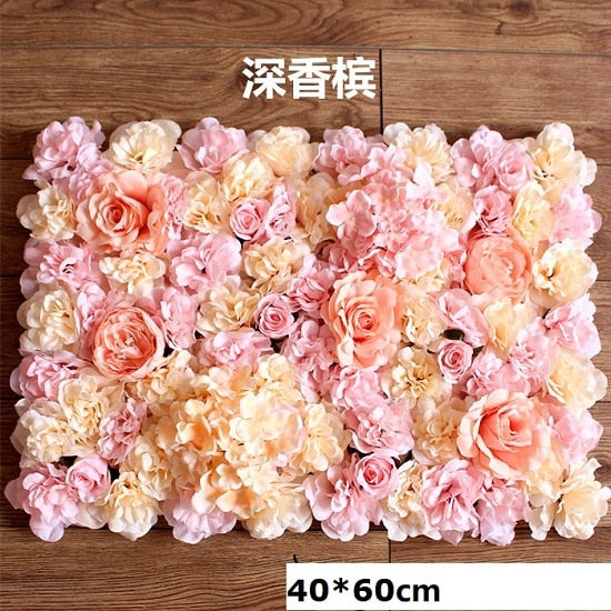 40x60cm Silk Rose Flower Wall Wedding Decoration Backdrop Champagne Artificial Flower Flower Wall Romantic Wedding Decor