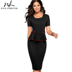Nice-Forever Career Women Pure Color Office Button vestidos Business Work Bodycon Sheath Peplum Female Dress B512