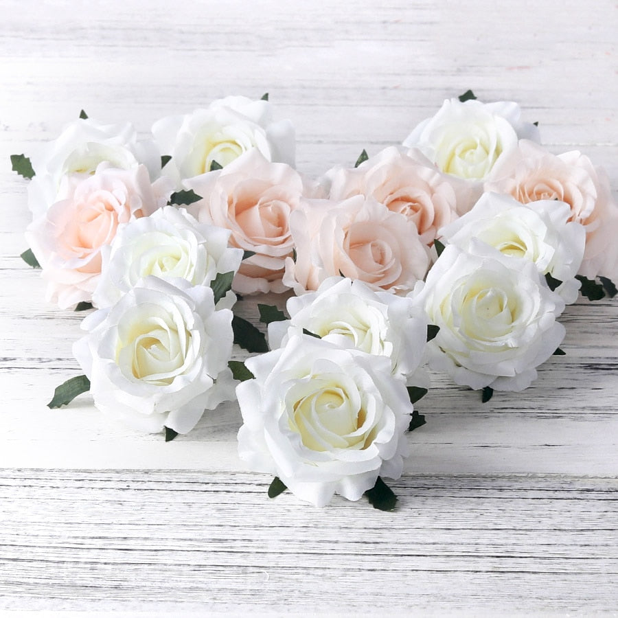 5pcs artificial roses white silk fake roses flower faux heads high quality DIY wedding home decoration scrapbook accessories