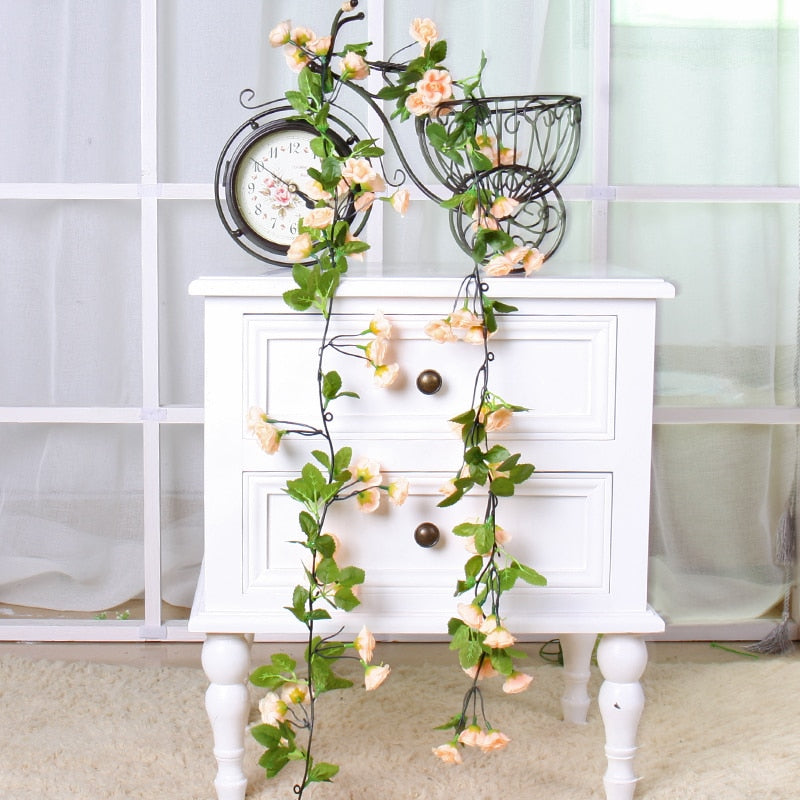 Silk Rose Vine Wedding Flower Artificial Flowers Rattan Hanging Plants Leaves Romantic Garland Wall Home Garden Decoration