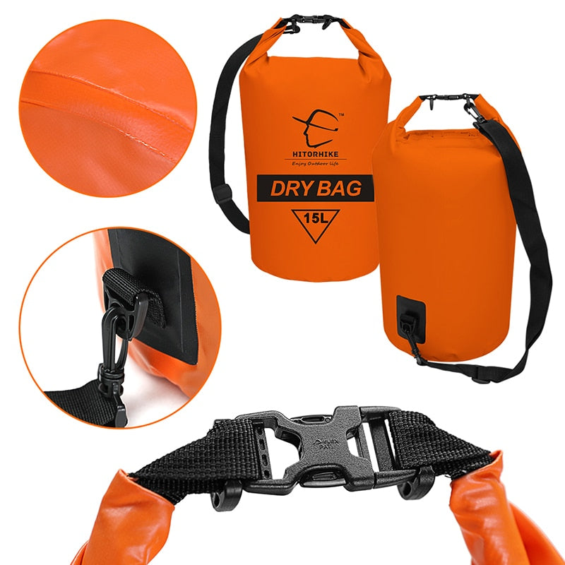 15L Waterproof Dry Bag Outdoor Swimming Camping Rafting Storage Bag with with Adjustable Straps 5 Colors