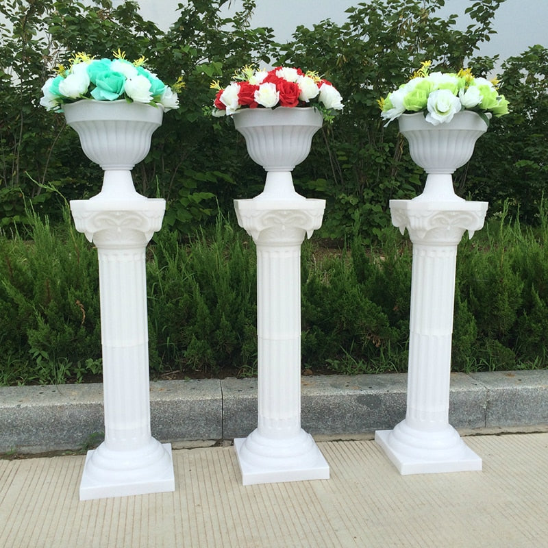 2pcs Plastic Roman Column Fashion Wedding Props Party Decorative White Pillars Pots Road Cited Welcome Area Decor Flower Ball