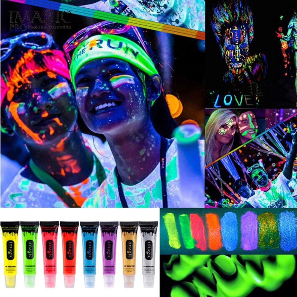 IMAGIC 6 Colors Glow in Dark Body Art Paint 10ml UV Glow Face Body Paints Fashion Halloween Makeup Fancy Body Painting