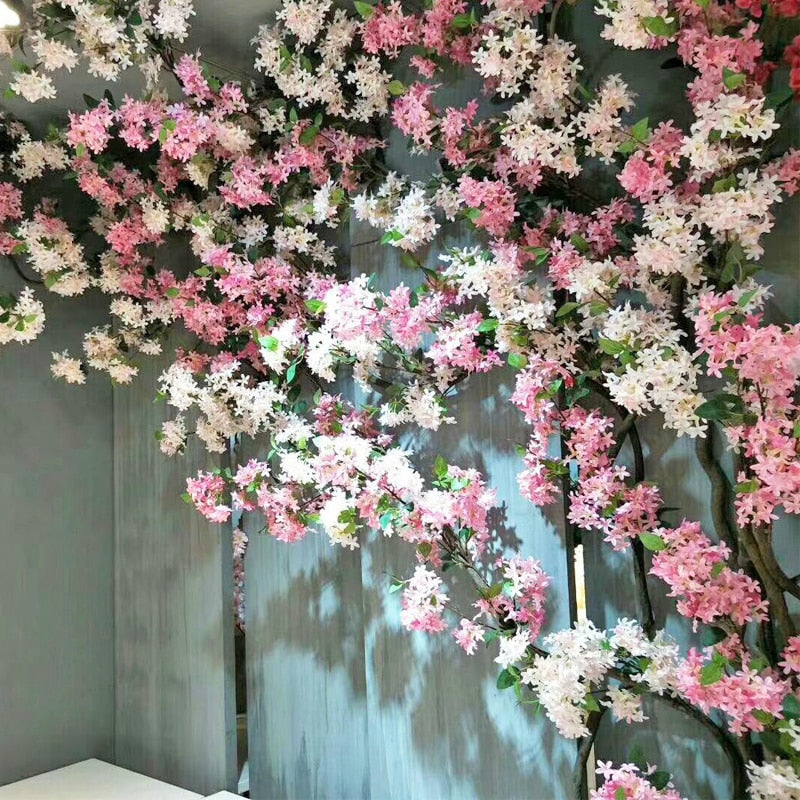 160cm Artificial Cherry Blossom Vine Ivy Silk Flowers Fake Sakura Hanging Garland Wreath Wedding Arch Home Rattan Backdrop Decor