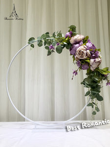 6pcs/set White Color Small circular arch Metal flower stand for Wedding Event Decor (White 60x57cm)