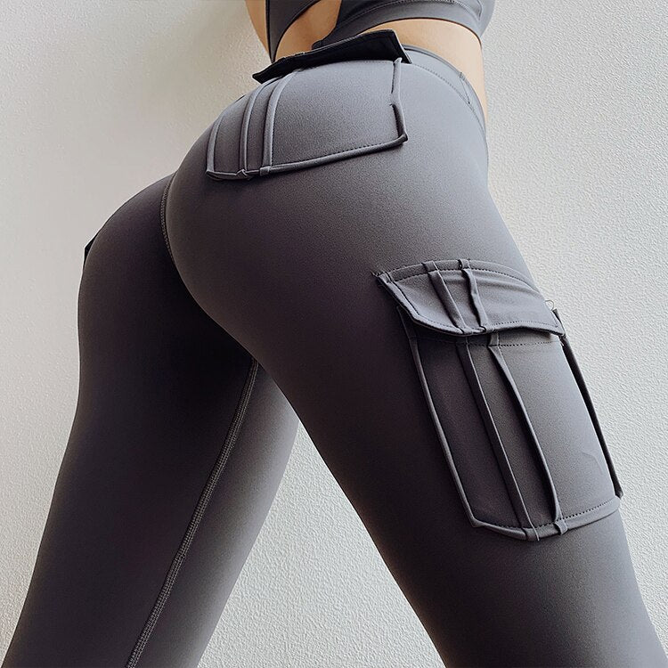 Women High waist leggings with four pockets yoga pants sport fitness flex squat proof leggings