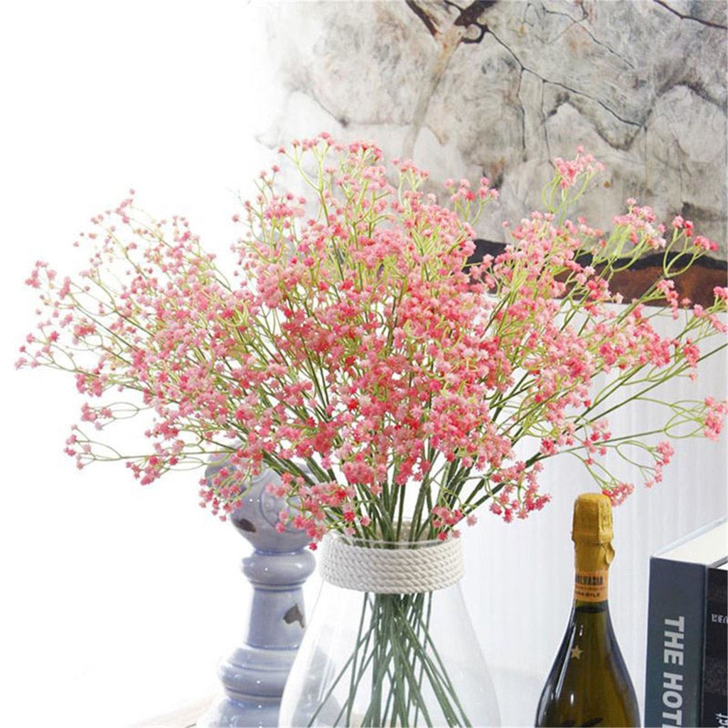 "40cm/15.74"" Colorful gypsophila artificial flowers long stem fake bouquet babys breath silk flower wedding party home decoration"