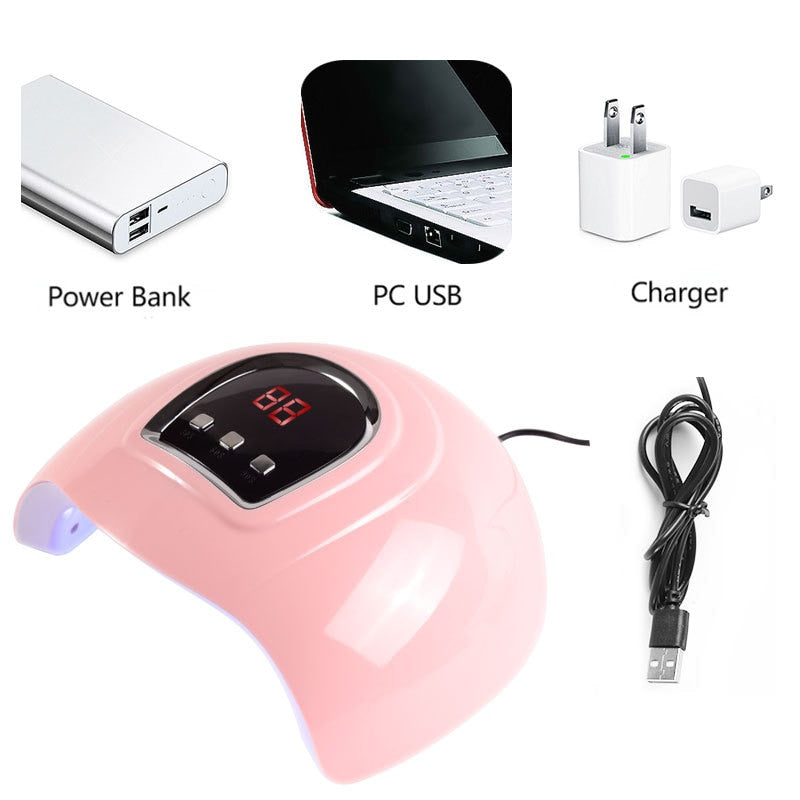 54W 18LEDS UV Nail Lamp UV LED Nail Dryer 30/60/90s Timer LED Digital Sceen For Curing Gel Polish Auto Sensing Nail Lamp