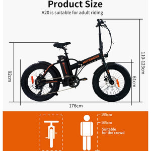 Electric Bike 20 Inch Electric Folding Bike Fat Tire Bicycle Snow Beach Ebike 500W 36V 13Ah Lithium Battery Bike