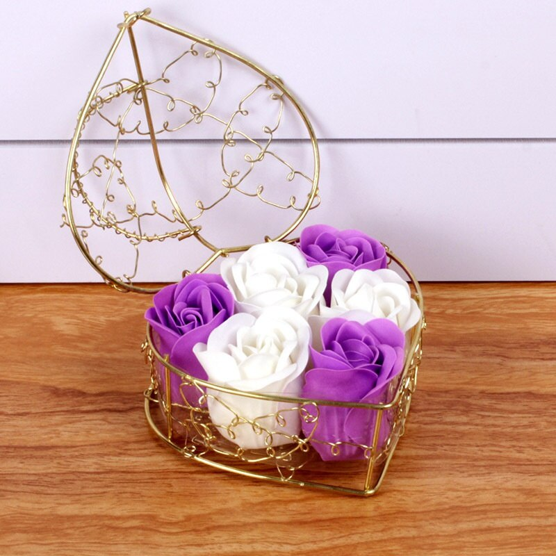 Romantic Valentine's Day Gift Heart Shape Iron Basket With 6 Soap Flower Roses Scented Soap Flower Gift Box Best Gifts /