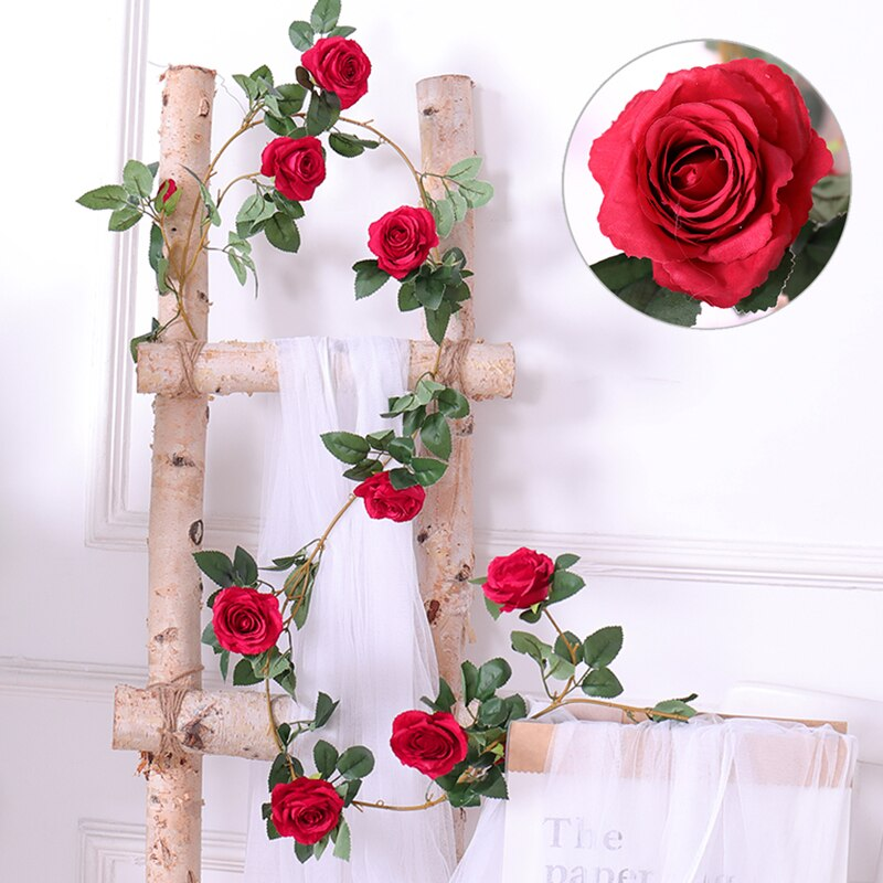 180cm Silk Roses Flower Vine Ivy Leaf Hanging Garland Real Touch Artificial Flowers Rattan Wall Wedding Garden Decoration
