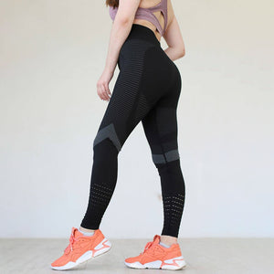 SVOKOR High Waist Fitness Leggings Women Sexy Seamless Leggings Hollow Printed Workout Pants Push Up Slim Elasticity