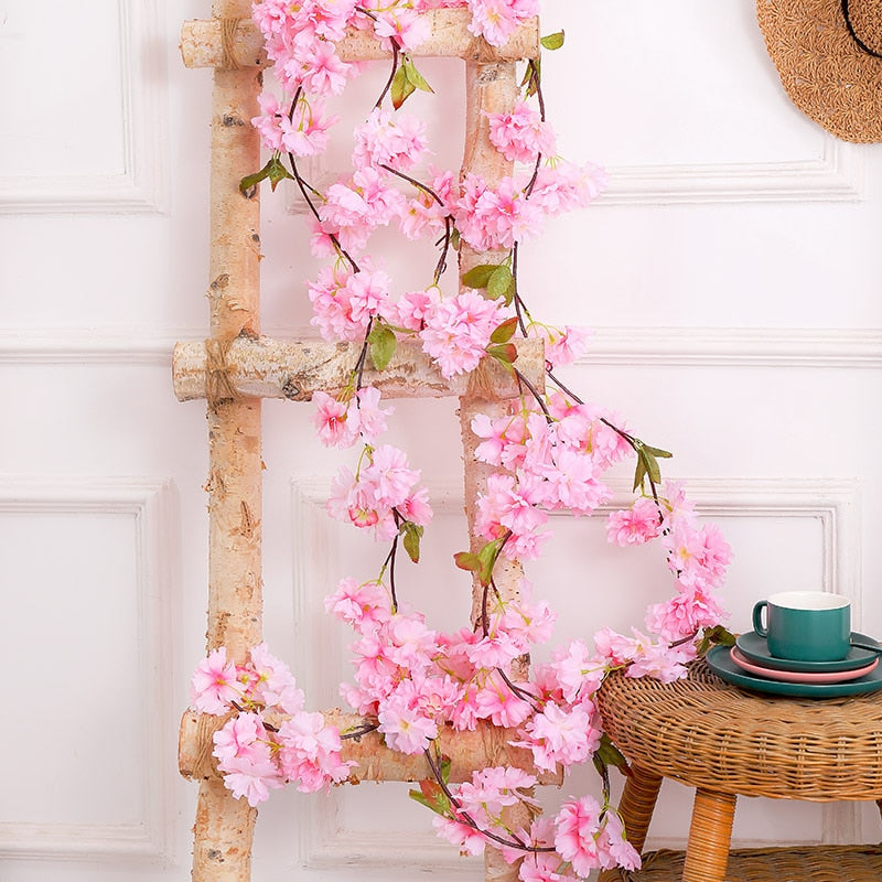 177cm Fake Cherry Blossom Vine Silk Artificial Sakura Flower Wall Garland Hanging DIY Party Decor Wedding Home Decoration Flower