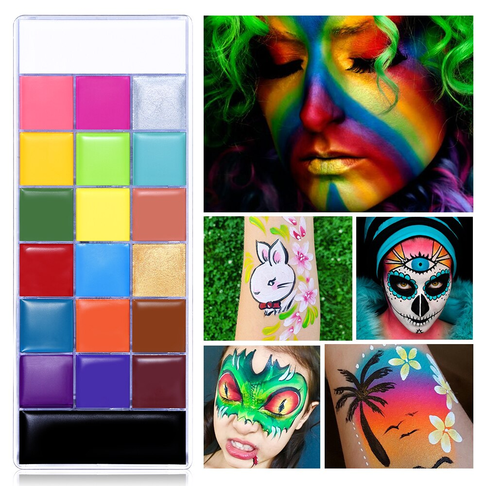 UCANBE 20 Colors Face Body Painting Oil Safe Kids Flash Tattoo Painting Art Halloween Party Makeup Fancy Dress Beauty Palette