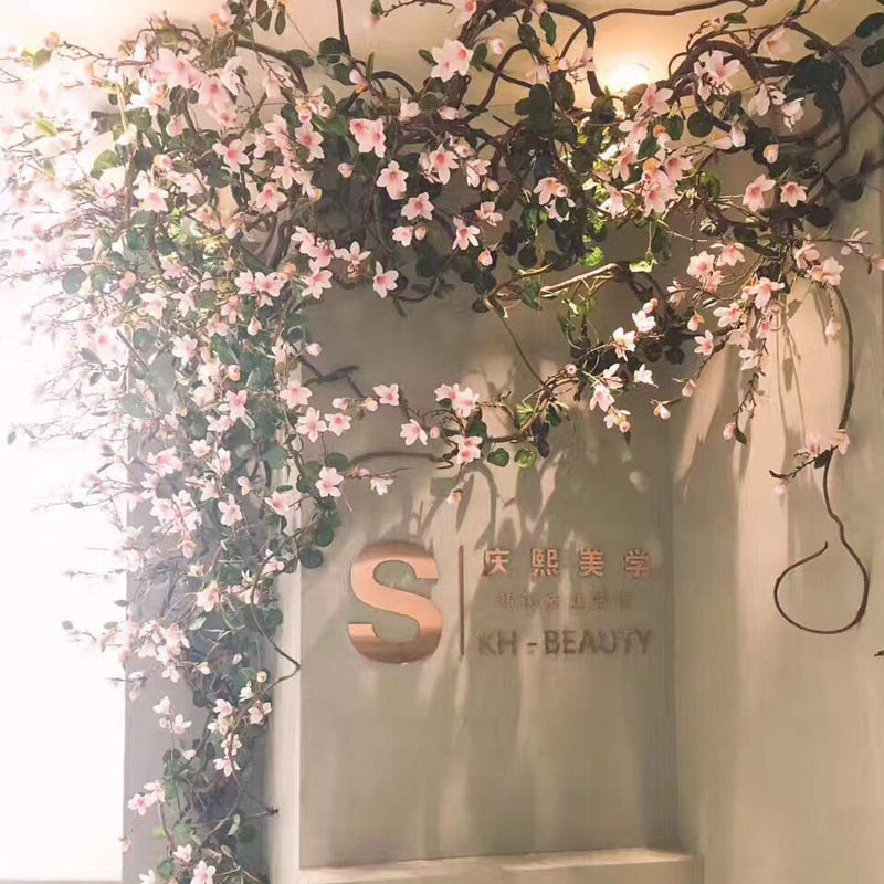 160cm Silk Magnolia Branch Artificial Flowers Vine High Quality Fake Flower Wall Rattan Garland Home Wedding Backdrop Decoration