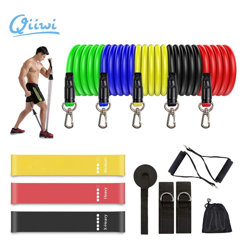 Dr.Qiiwi Elastic Resistance Bands Sets Gum Fitness Equipment Stretching Rubber Loop Band for Yoga Training Workout Exercise