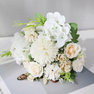 yumai 7 Heads Hydrangea Flowers Artificial Bouquet Silk Blooming Fake Peony Bridal Hand Flower Roses Wedding Centerpieces Decor