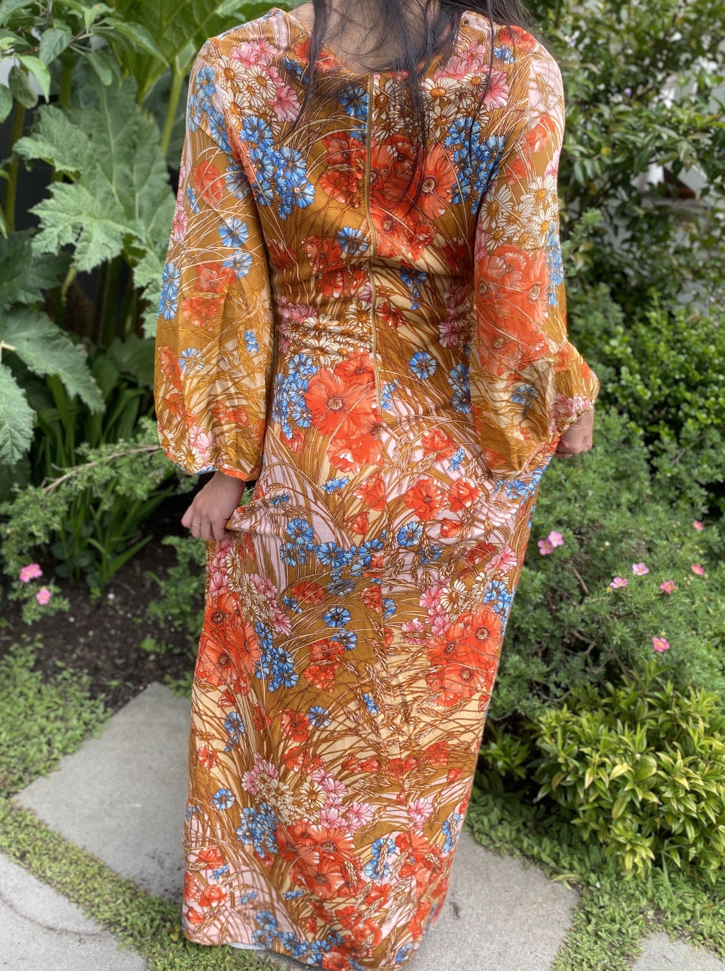 60s chiffon bell sleeves floral maxi dress