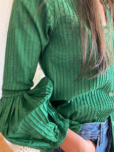Tachi Castillo 1970s couture cotton blouse in emerald green