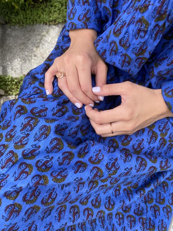 blue Indian cotton 60s long sleeved dress