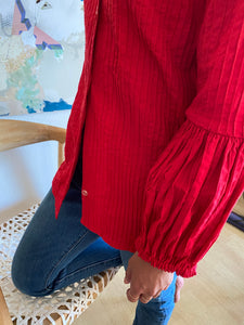 Tachi Castillo 1970s couture cotton blouse in cherry red