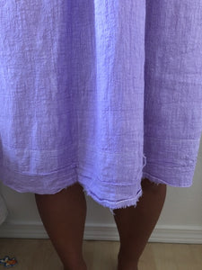 70s cotton faded lilac house dress