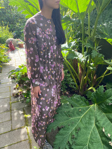 60s crisp cotton brown floral long sleeved maxi