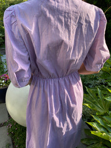 pinstripe cotton day dress w slight puff sleeve