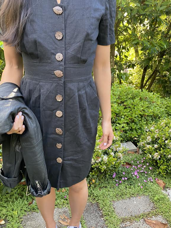 90s linen blend leaf detail dress with pockets