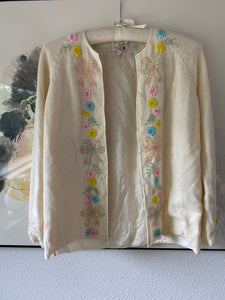 60s beaded bow and flower cream sweater
