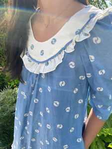 60s blue + white hostess dress with pockets