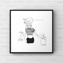 "Load image into Gallery viewer, Art Print ""I'm a Bunny Girl in a Bunny World"" - tinkl ILLUSTRATION"