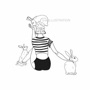 "Art Print ""I'm a Bunny Girl in a Bunny World"" - tinkl ILLUSTRATION"