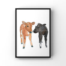 "Load image into Gallery viewer, Cow Art Print ""Roo & Paul"" in Aid of Surge Sanctuary - tinkl ILLUSTRATION"