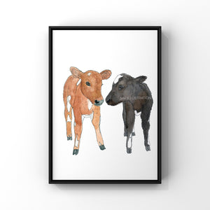 "Cow Art Print ""Roo & Paul"" in Aid of Surge Sanctuary - tinkl ILLUSTRATION"