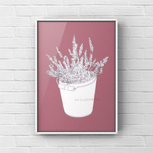 "Load image into Gallery viewer, Floral Art Print ""Lavender in a Bucket"" - tinkl ILLUSTRATION"