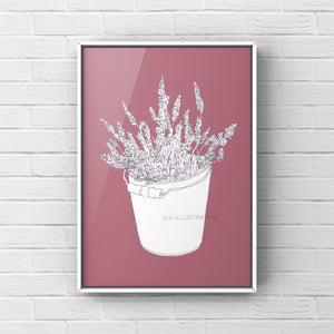 "Floral Art Print ""Lavender in a Bucket"" - tinkl ILLUSTRATION"