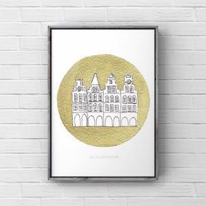 "Original Artwork ""Golden Münster – Prinzipalmarkt"" - tinkl ILLUSTRATION"