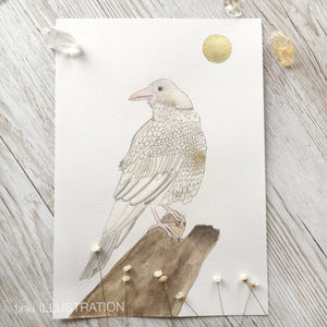"Original Artwork ""Moon Raven"" of a White Raven - tinkl ILLUSTRATION"