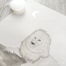 "Load image into Gallery viewer, Original Artwork ""Moonfasa"" of a White Lion - tinkl ILLUSTRATION"