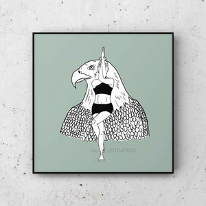 "Yoga Art Print ""Eagle Pose"" - tinkl ILLUSTRATION"